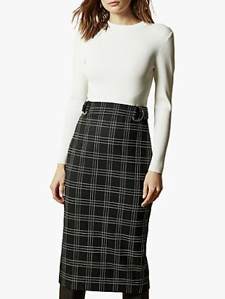 Ted Baker Madysun Knitted Check Midi Dress, Black