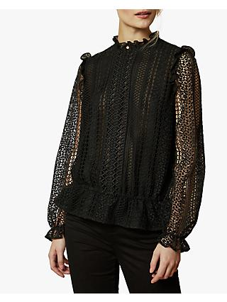 Ted Baker Comsee Embroidered Blouse, Black