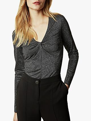 Ted Baker Ernay Metallic Knot Front Top, Black