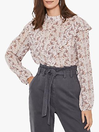 Mint Velvet Rudie High Neck Ruffle Blouse, Multi