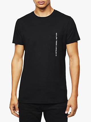 Diesel T-Rubin T-Shirt with Copyright Embroidery, Black