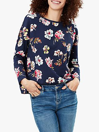 Joules Marina Floral Print Top, Navy Floral