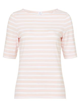 John Lewis & Partners Half Sleeve Boat Neck Stripe T-Shirt