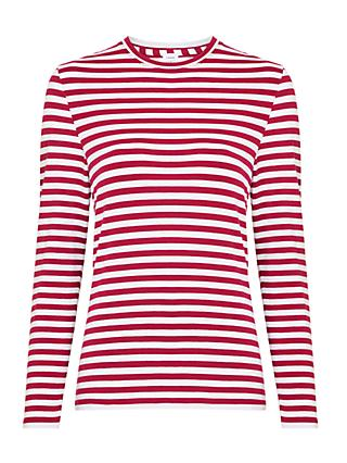 John Lewis & Partners Long Sleeve Stripe Cotton Rich Jersey Top