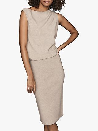 Reiss Claudine Draped Knitted Dress, Neutral