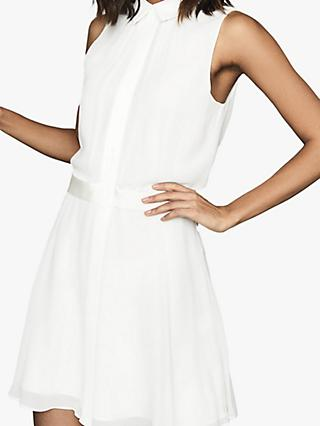 Reiss Allie Semi Sheer Sleeveless Dress, Ivory