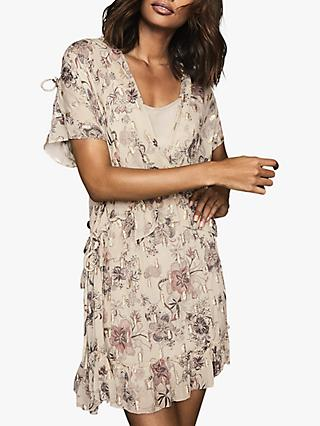 Reiss Blythe Floral Print Tiered Mini Dress, Nude/Multi