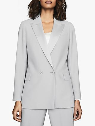 Reiss Cleo Double Breasted Jacket, Ice Blue