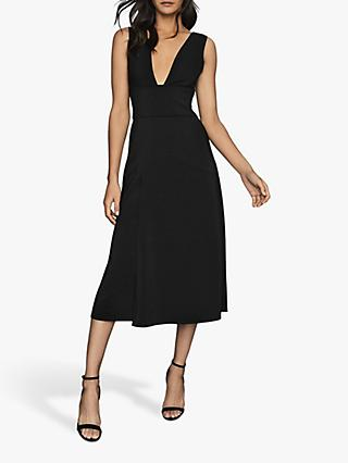 Reiss Adele Plunge Neck Midi Dress, Black