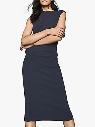 Reiss Claudine Draped Knitted Dress, Navy