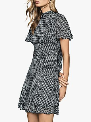 Reiss Rayah Printed Flippy Dress, Blue