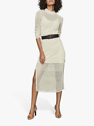 Reiss Emmy Mesh Bodycon Dress, Neutral