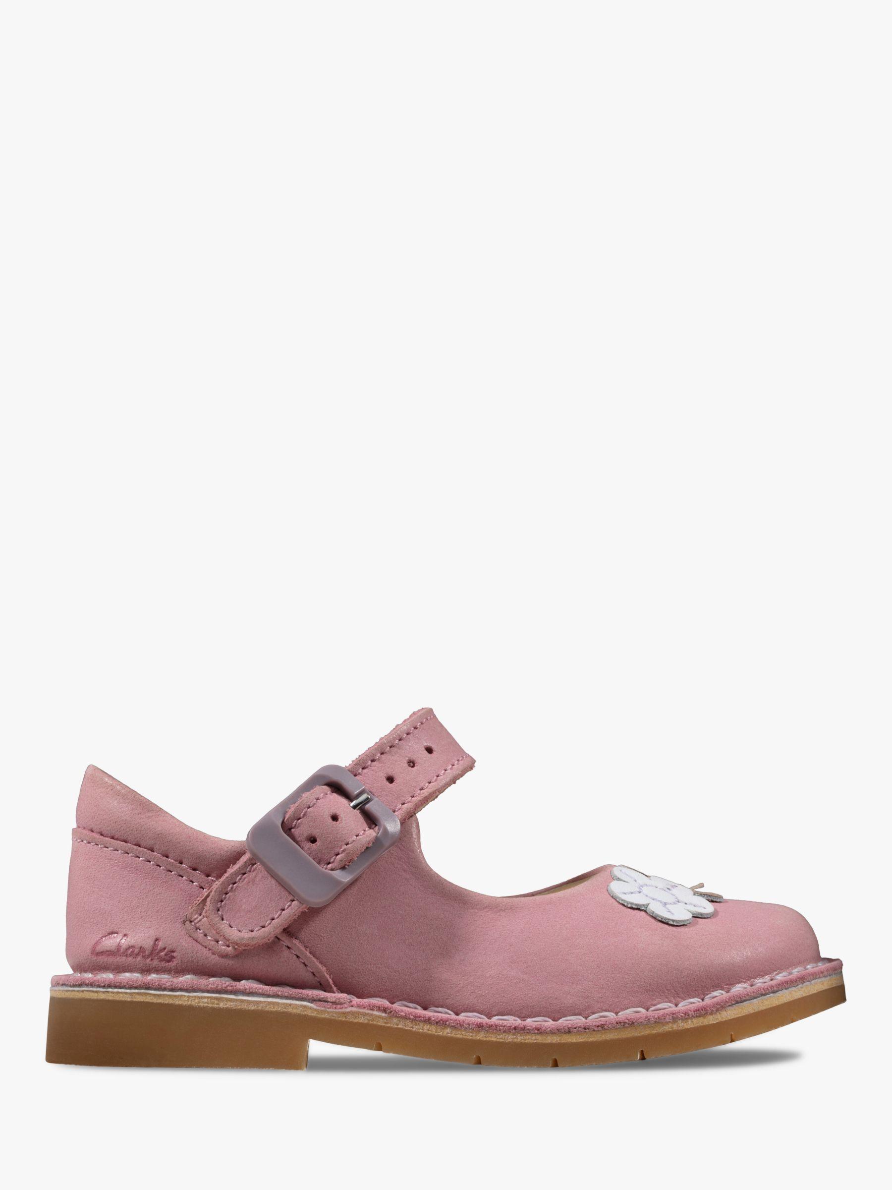 Clarks Children's Comet Gem T-Bar Shoes, Dusty Pink at ...