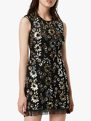 French Connection Fia Lace Sparkle Sequin Dress, Silver/Gold