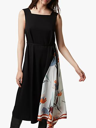 French Connection Eena Twill Mix Asymmetric Hem Dress, Black/Winter White