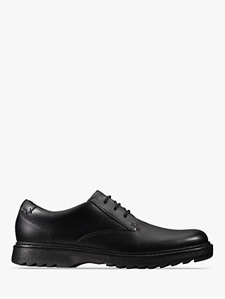 Clarks Children's Asher Jazz School Shoes, Black Leather