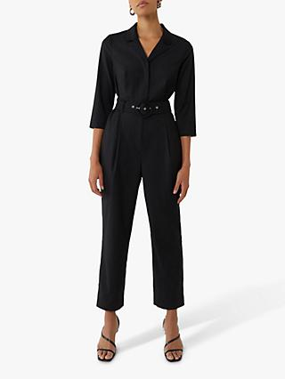 Warehouse Placket Belted Jumpsuit, Black