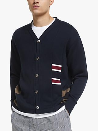 Garbstore The English Difference Rework Cardigan, Navy/White