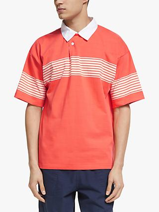 Garbstore Drop Out Sports Cotton Stripe Rugby Shirt, Orange/Natural