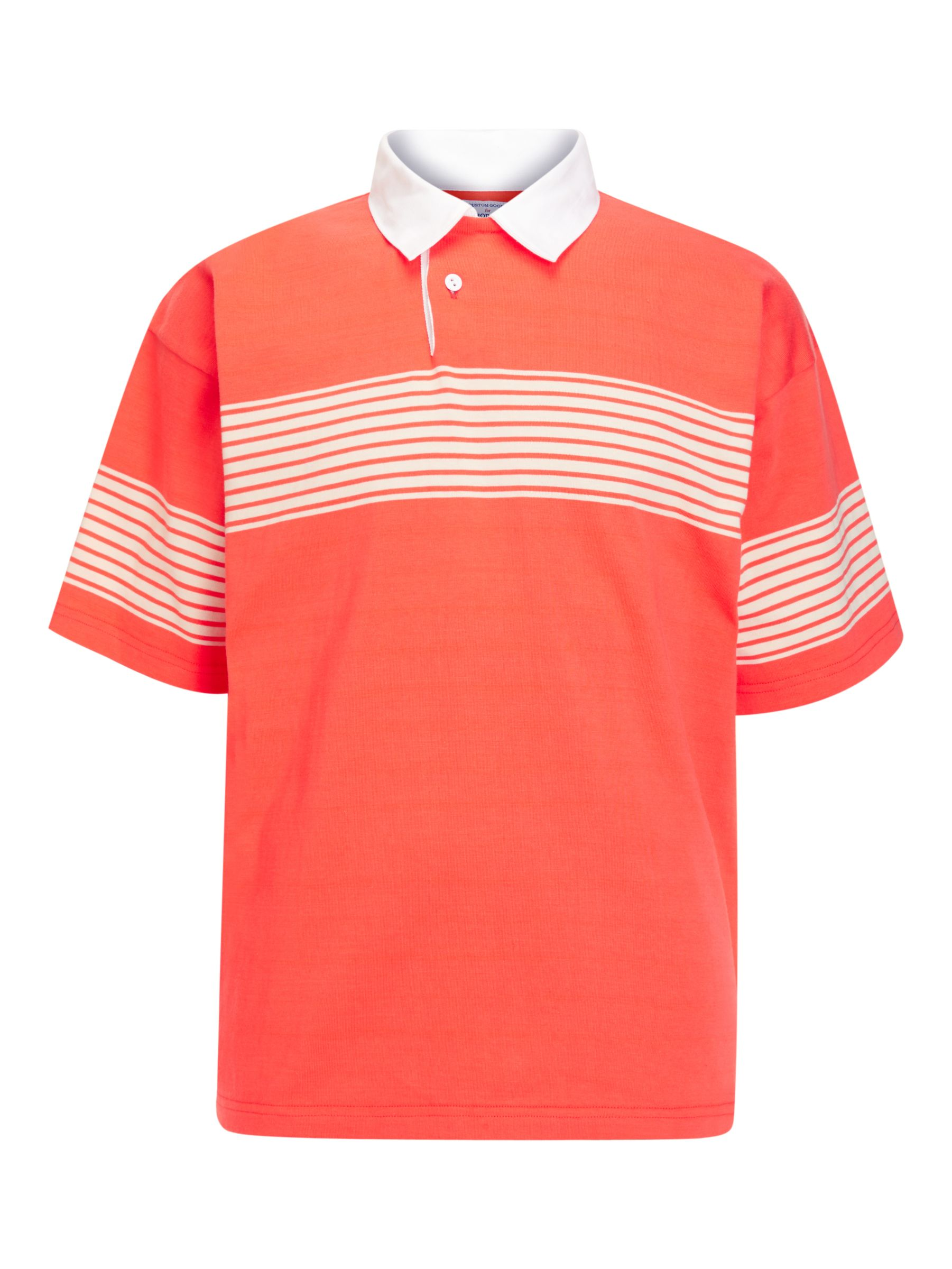 Buy Garbstore Drop Out Sports Cotton Stripe Rugby Shirt, Orange/Natural, S Online at johnlewis.com