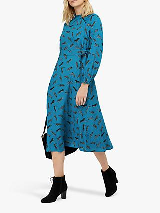 Monsoon Sadie Leopards Midi Dress, Blue