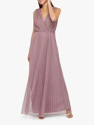 Monsoon Freya Pleat Mesh Spot Maxi Dress, Pink