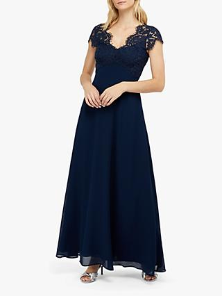Monsoon Marne Lace Maxi Dress, Navy