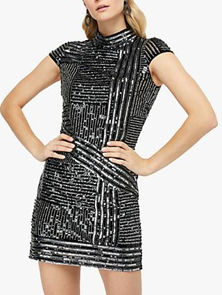 Monsoon Brienne Sequin Tunic Dress, Silver