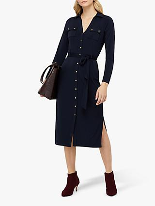 Monsoon Bella Button Down Dress, Navy