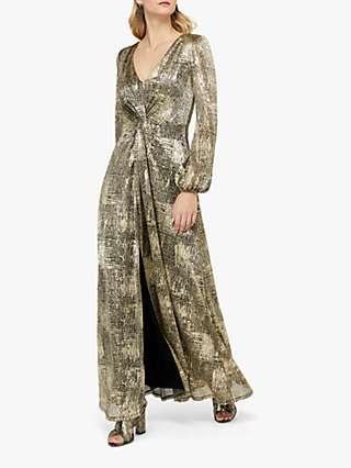 Monsoon Vanessa Twist Maxi Dress, Gold