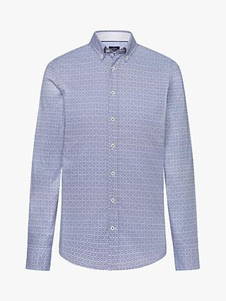 Hackett London Regular Fit Tile Print Cotton Shirt, White/Navy