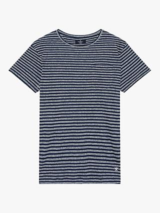 Hackett London Linen Stripe Pocket T-Shirt, Navy/White