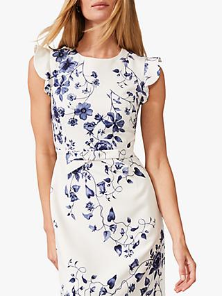 Phase Eight Tori Floral Print Dress, Ivory/Navy