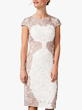 Phase Eight Nori Lace Occasion Dress, Ivory/Taupe