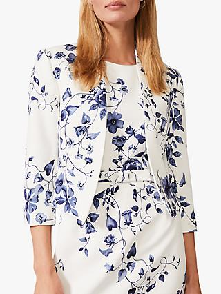 Phase Eight Tori Printed Jacket, Ivory/Navy