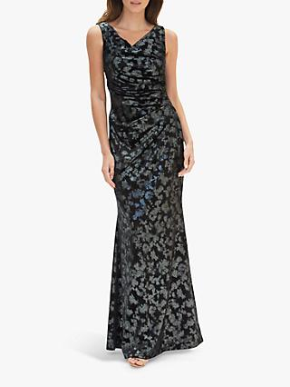 Gina Bacconi Devin Metallic Velvet Maxi Dress, Black/Silver