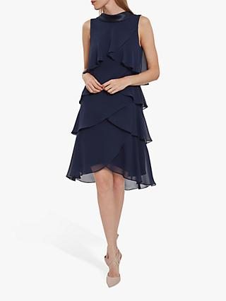 Gina Bacconi Halona Tiered Chiffon Dress, Navy