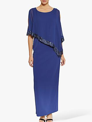 Gina Bacconi Lizette Sequin Trim Crepe Maxi Dress, Navy