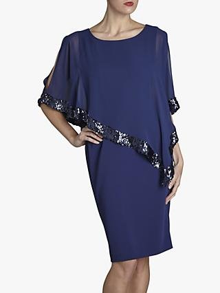 Gina Bacconi Ladina Sequin Trim Cape Dress, Navy