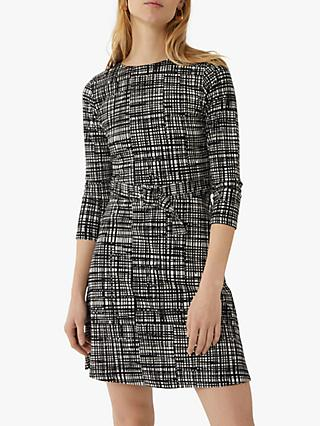 Warehouse Brushed Check Belted Dress, Black Pattern