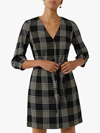 Warehouse Check Mini Shift Dress, Black Pattern