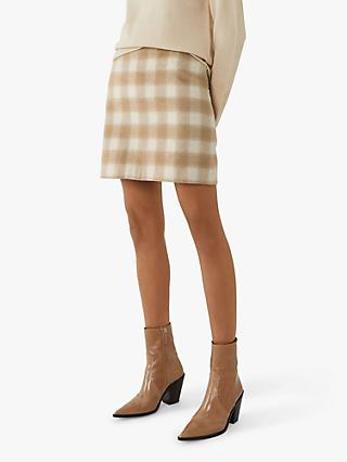 Warehouse Check Pelmet Mini Skirt, Camel