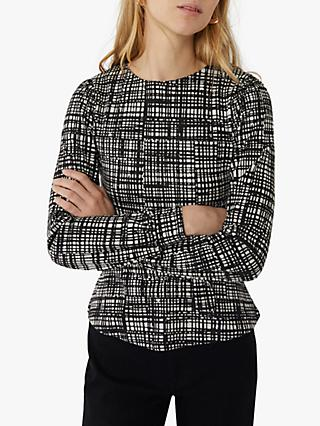 Warehouse Brushed Check Belted Top, Black Pattern