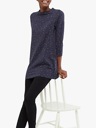 White Stuff Spot Button Side Tunic, Ink Navy