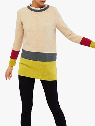 White Stuff Teak Colour Block Tunic Jumper, Oatmeal