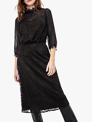 Oasis Floral Lace Sheer Sleeve Midi Dress