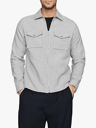 Reiss Vice Zip through Overshirt, Grey
