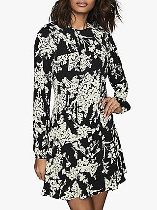 Reiss Gabriella Floral Mini Dress, Black