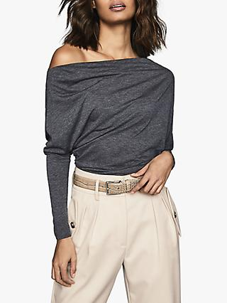 Reiss Livvy Sienna Drape Shoulder Jersey Top, Navy
