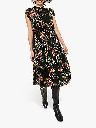 Oasis Floral Pleat Dress, Multi